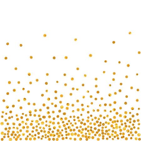 neige qui tombe: Abstract pattern de la chute aléatoire des points d'or sur fond blanc. Motif élégant pour le fond, le textile, l'emballage de papier et autres design. Vector illustration. Illustration