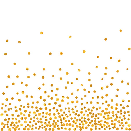 Abstract pattern of random falling golden dots on white  background. Elegant pattern for background, textile, paper packaging and other design. Vector illustration.