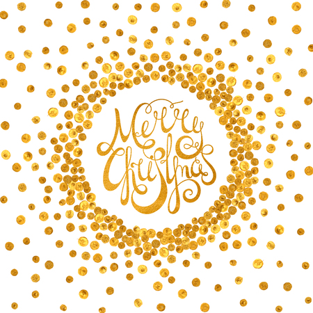 Gold handwritten calligraphic inscription Merry Christmas inscribed in a circle pattern of golden confetti. Design element for banner, card, invitation, label, postcard, vignette. Vector illustration.