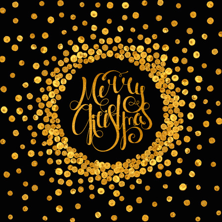 inscribed: Gold handwritten calligraphic inscription Merry Christmas inscribed in a circle pattern of golden confetti. Design element for banner, card, invitation, label, postcard, vignette. Vector illustration.