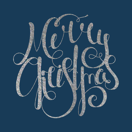 inscribed: Silver textured handwritten calligraphic inscription Merry Christmas inscribed in a circle. Design element for banner, card, invitation, label, postcard, template, vignette etc. Vector illustration. Illustration
