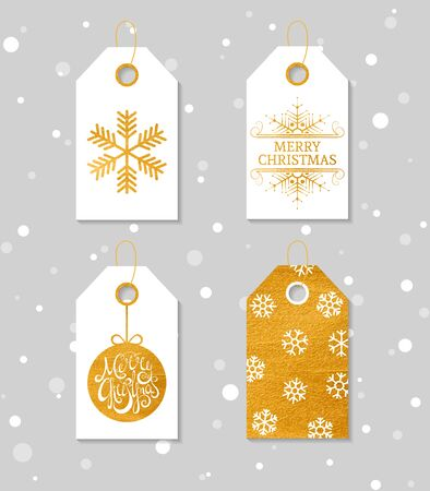sale tag: Collection of four gold texture Christmas and New Year gift tags. Set of festive gift tag, sticker and label. Template for banner, invitation, postcard, card, wrapping, packaging. Vector illustration.