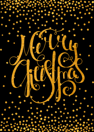 Gold textured handwritten calligraphic inscription Merry Christmas with pattern of golden confetti. Design element for banner, card, invitation, postcard, template, vignette etc. Vector illustration. Vettoriali