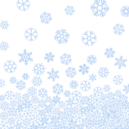 starfall: Abstract pattern of blue falling snowflakes on white background. Elegant pattern for Christmas or New year background, festive banner, card, invitation, postcard. Vector illustration.