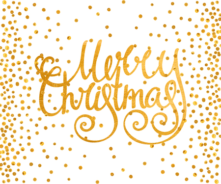 christmas postcard: Gold textured handwritten calligraphic inscription Merry Christmas with pattern of golden confetti. Design element for banner, card, invitation, postcard, template, vignette etc. Vector illustration. Illustration