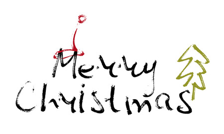 christmas cap: Hand written inscription Merry Christmas on white background with Christmas cap and tree. Design element for banner, card, invitation, label, t-shirt, postcard, poster. Scribble vector illustration.