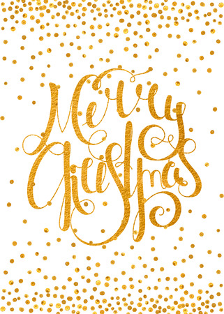 metallic background: Gold textured handwritten calligraphic inscription Merry Christmas with pattern of golden confetti. Design element for banner, card, invitation, postcard, template, vignette etc. Vector illustration. Illustration