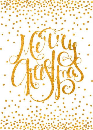 neige qui tombe: Or textur� inscription calligraphique manuscrite Joyeux No�l avec motif de confettis d'or. �l�ment de conception pour banni�re, carte, invitation, carte postale, mod�le, vignette, etc. Vector illustration.