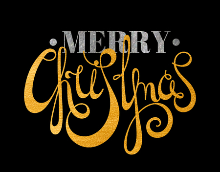 Gold and silver textured handwritten calligraphic inscription Merry Christmas with dots. Design element for banner, card, invitation, label, postcard, template, vignette etc. Vector illustration.