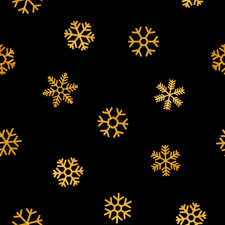 starfall: Seamless pattern of falling golden snowflakes on black background. Elegant pattern for Christmas or New year background, festive banner, card, invitation, postcard. Vector illustration.