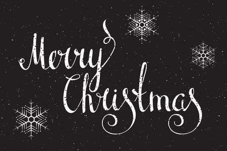merry christmas text: Hand written calligraphic inscription Merry Christmas in grunge style on black background. Design element for banner, card, invitation, label, postcard, vignette and other. Vector illustration.