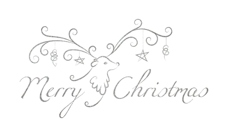 freehand tradition: Christmas reindeer with toys on the horns and the silver textured inscription Merry Christmas. Elegant design for Christmas greeting card, banner, card, invitation, postcard. Vector illustration. Illustration