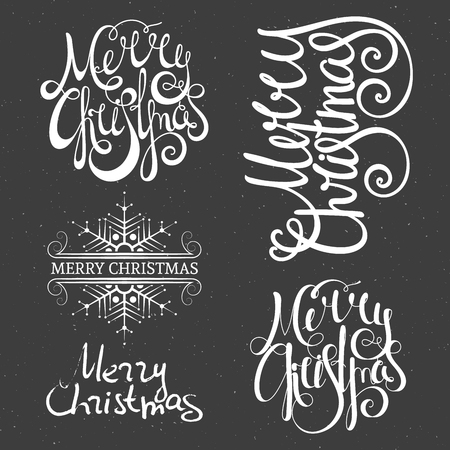 Merry Christmas lettering design set. Calligraphy handwriting design element for greeting card, banner, invitation, label, postcard, vignette and flyer. Vector illustration.