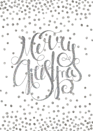 Silver textured handwritten calligraphic inscription Merry Christmas with pattern of silver confetti. Design element for banner, card, invitation, postcard, template and vignette. Vector illustration.