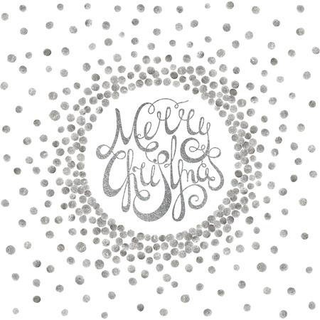 Silver handwritten calligraphic inscription Merry Christmas inscribed in circle pattern of silver confetti. Design element for banner, card, invitation, label, postcard, vignette. Vector illustration.