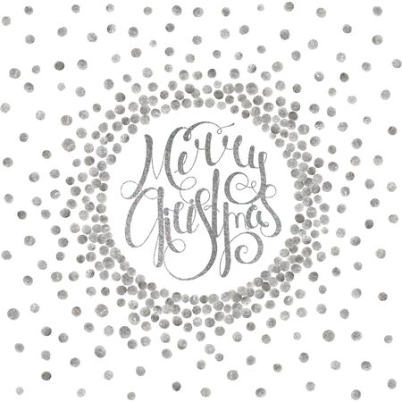 starfall: Silver handwritten calligraphic inscription Merry Christmas inscribed in circle pattern of silver confetti. Design element for banner, card, invitation, label, postcard, vignette. Vector illustration.