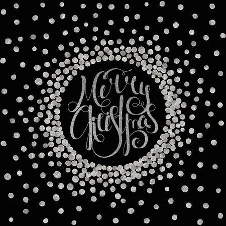 inscribed: Silver handwritten calligraphic inscription Merry Christmas inscribed in circle pattern of silver confetti. Design element for banner, card, invitation, label, postcard, vignette. Vector illustration.