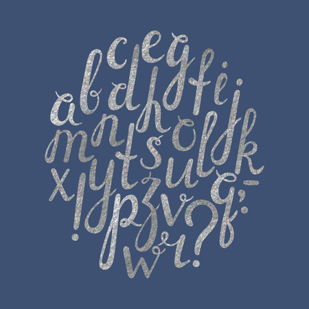 punctuation mark: Artistic handdrawn silver font with punctuation marks. All the letters are painted in silver texture. Italic, bold. Question mark, exclamation point, period, comma, dash, hyphen. Vector illustration.
