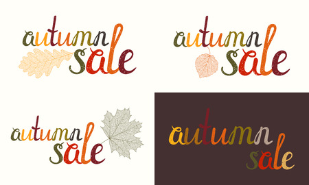 selloff: Set of Autumn sale inscription with autumn skeletal leaves. Handwritten letters painted in autumn colors. Can be used for flyer, banner, poster, card, postcard, label, invitation. Vector illustration.