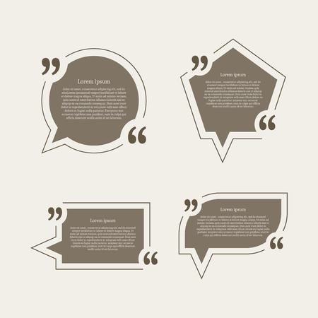 speech: Quote mark speech bubbles set.  Illustration