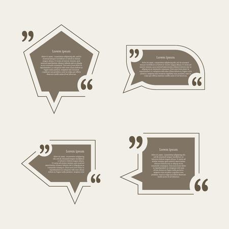 chat bubble icon: Quote mark speech bubbles set. Empty quote blank citation template. Four different design element for business card, paper sheet, information, note, message, motivation, comment. Vector illustration.