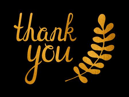 a sprig: Thank you golden inscription and gold sprig of laurel on black background. Handwritten letters. Can be used for flyer, banner, poster, card, postcard, label etc. Vector illustration.