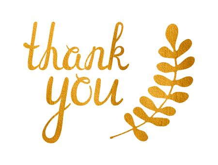 sprig: Thank you golden inscription and gold sprig of laurel on white background. Handwritten letters. Can be used for flyer, banner, poster, card, postcard, label etc. Vector illustration.