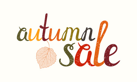 Autumn sale inscription with birch leaf. Hand-written letters are painted in autumn colors. Can be used for flyer, banner, poster, card, postcard, label, invitation etc. Vector illustration. Иллюстрация