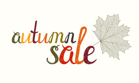 Autumn sale inscription with maple leaf. Hand-written letters are painted in autumn colors. Can be used for flyer, banner, poster, card, postcard, label, invitation etc. Vector illustration.
