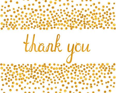 Dziękuję napis ze spadkiem złote kropki na białym tle. Odręcznych listów z teksturą złota. Można go używać do zaproszenia, ulotki, pocztówki, karty okolicznościowe, transparent. ilustracji wektorowych.