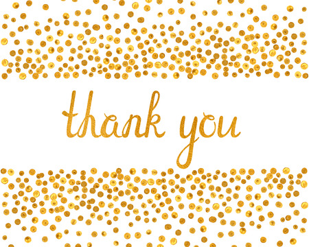 thank you cards: Thank you inscription with falling golden dots on white background. Handwritten letters with gold texture. You can use it for invitation, flyer, postcard, greeting card, banner. Vector illustration.