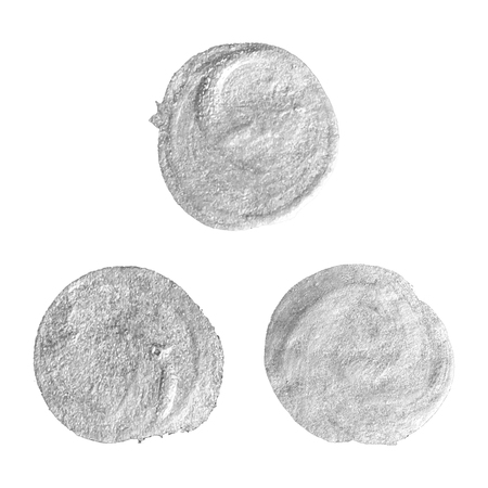 watercolor texture: Set of round silver stains isolated on white background. Abstract design element for inscription, banner, card, invitation, postcard, poster. Vector illustration.