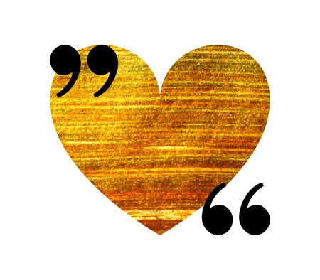 Gold heart quotation mark speech bubble. Empty quote blank citation template. Design element for Valentine day card, banner, wedding invitation, postcard. Vector illustration.
