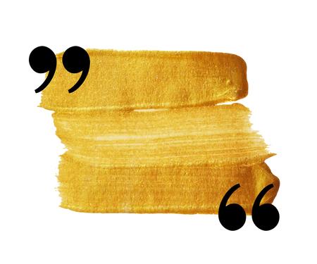 Gold vlek aanhalingsteken tekstballon. Lege citaat blanco citaat sjabloon. Element van het ontwerp voor de wenskaart, bruiloft uitnodiging, informatie, bericht, motivatie, commentaar enz. Vector illustratie. Vector Illustratie