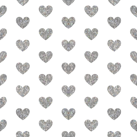 Seamless pattern of silver hearts on white background. Elegant pattern for Valentines day or wedding background, festive banner, card, invitation, postcard, save the date card. Vector illustration.
