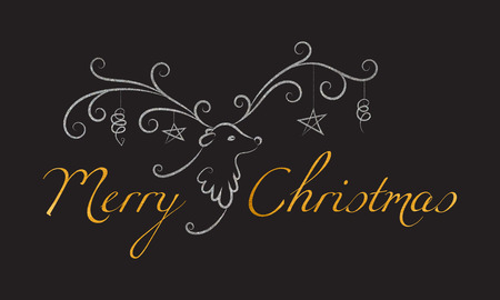 black and silver: Christmas reindeer with toys on the horns and the golden textured inscription Merry Christmas. Elegant design for Christmas greeting card, banner, card, invitation, postcard. Vector illustration.