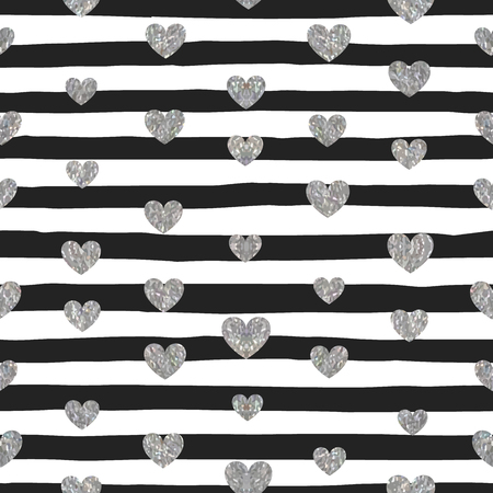 gray strip backdrop: Seamless pattern of silver hearts on black and white striped background. Pattern for Valentines day or wedding background, banner, invitation, postcard, save the date card. Vector illustration.