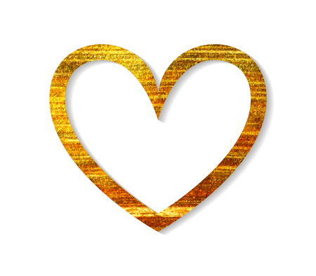 Gouden hart frame op een witte achtergrond. Ontwerp element voor Valentijn dag kaart, banner, bruiloft uitnodiging, briefkaart. Vector illustratie.