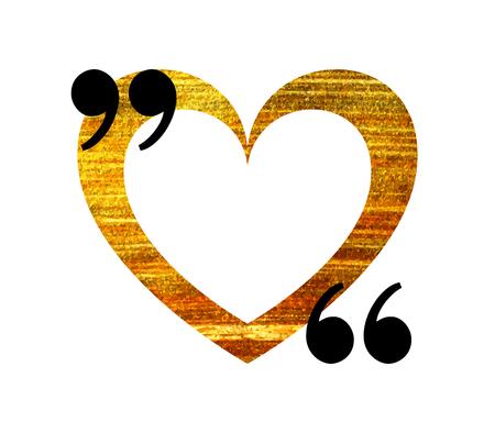 citation: Gold heart quotation mark speech bubble. Empty quote blank citation template. Design element for Valentine day card, banner, wedding invitation, postcard. Vector illustration.