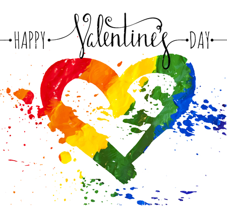 hetero: Hand-drawn rainbow heart with splatter and and the inscription Happy Valentines day. Design element for Valentine day card, banner, wedding invitation, postcard. Vector illustration.