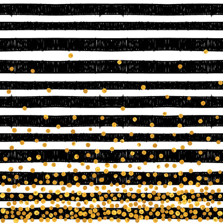 elegant white: Festive pattern of random gold dots on trendy seamless background of white and black stripes. Elegant pattern for background, textile, paper packaging and other design. Vector illustration.