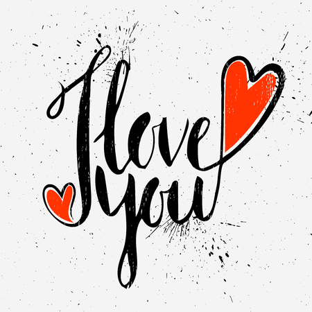 love symbols: Grunge textured handwritten calligraphic inscription I love you on light background. Lettering design element for greeting card, banner, invitation, postcard, vignette, flyer. Vector illustration. Illustration