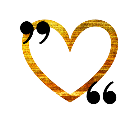 citation: Gold heart quotation mark speech bubble. Empty quote blank citation template. Design element for Valentine day card, banner, wedding invitation, postcard. Vector illustration.