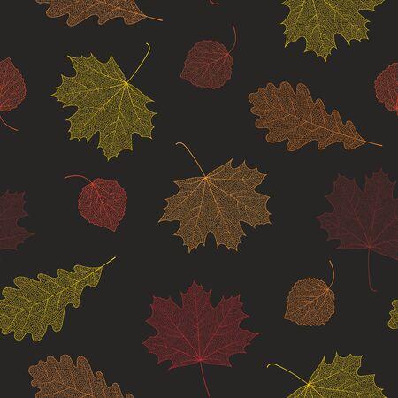 autunno Seamless da scheletri di foglie. Illustrazione vettoriale per banner, carta, sfondo, tessile, carta da imballaggio, carta da imballaggio, scrapbooking, carta da parati e tessuti. Illustrazione vettoriale. Vettoriali