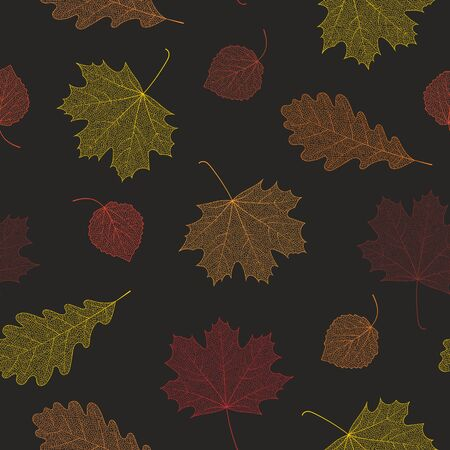 birch leaf: Seamless autumn pattern from skeletons of leaves. Vector illustration for banner, card, background, textile, paper packaging, wrapping paper, scrapbooking, wallpaper and textile. Vector illustration. Illustration
