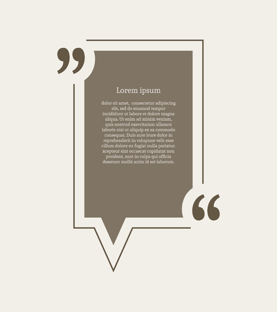 citation: Quotation mark speech bubble. Empty quote blank citation template. Rectangle design element for business card, paper sheet, information, note, message, motivation, comment etc. Vector illustration.