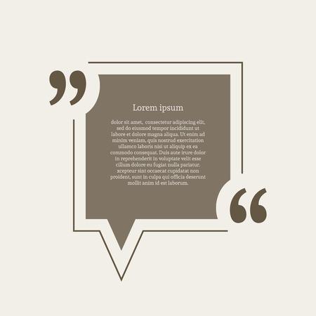 Quotation mark speech bubble. Empty quote blank citation template. Square design element for business card, paper sheet, information, note, message, motivation, comment etc. Vector illustration.