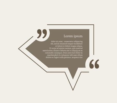 citation: Quotation mark speech bubble. Empty quote blank citation template. Pointer design element for business card, paper sheet, information, note, message, motivation, comment etc. Vector illustration.