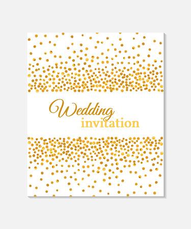 Uitnodigingskaart van het huwelijk met dalende gouden stippen op een witte achtergrond. Vector sjabloon. Je kunt het gebruiken voor de uitnodiging, flyer, ansichtkaart, wenskaart, banner etc.