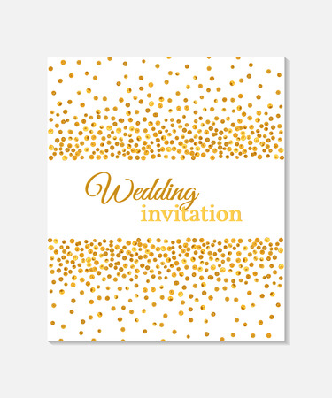 Wedding invitation card with falling golden dots on white background. Vector template. You can use it for invitation, flyer, postcard, greeting card, banner etc.